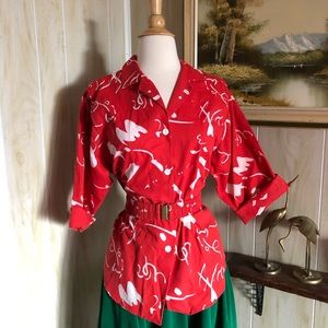 1970's Patterned Belted Blouse